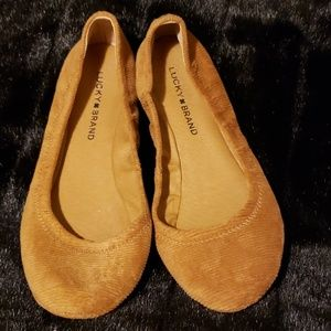 Lucky Brand Slip On Flats Brown Corduroy